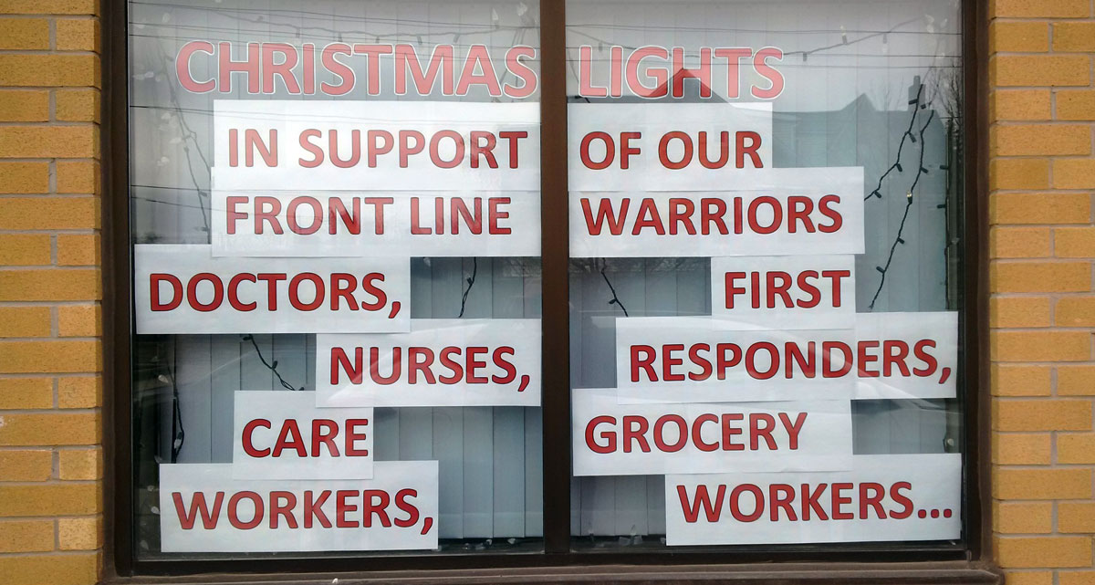 Christmas light display for front line workers